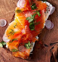 Celebrate with our most elegant brunch recipes, from this Smoked Salmon Tartine to Skillet Hash Browns Orange Recipes, Salmon Recipes, Raw Food Recipes, Cooking Recipes, Brunch Recipes, Radish Recipes, Brunch Food, Scandinavian Food, Smoked Salmon