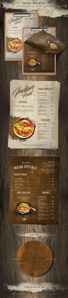 Indian A4 & US Letter Single Page Food Menu - Food Menus Print Templates