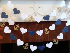 Paper Heart Garland/ 10ft Anchors and Heart by anyoccasionbanners, $12.50 Beach wedding idea!!