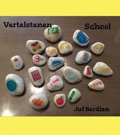 Juf Berdien zelfgemaakte Vertelstenen terug naar school kleuters Storystones Preschool school theme