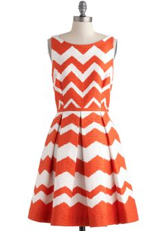 At Every Pattern Dress in Orange Zigzag - Orange, White, Chevron, Pleats, Pockets, Party, A-line, Sleeveless, Boat, Luxe