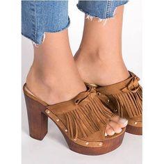 New Women's Platform Very High Heel Peep Toe Block Slip On Mules Sandal