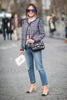 The Chanel cap-toe slingback is a shoe trend that's not going anywhere. Click for street style inspiration from women like Aimee Song, then shop some similar styles.