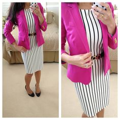 BrMadMenStripedDressOOTD1 by Stylish Petite, via Flickr