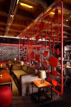 Restaurant design. cool red partition.  Think I was in this place in Vancouver, Canada???: