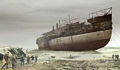 The 'Great Eastern' is cut up for salvage on a beach near Liverpool