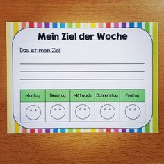 """Auf zu Tag 3 der #lehrerinneninstachallenge von @a_teachers_lifestyle  Heute zeige ich euch ein #detailimklassenzimmer : das ist unser Ziel der Woche.  Es klebt bei jedem Kind auf dem Tisch und wird jeden Montag neu ausgefüllt. Die Kinder schreiben sich Ziele auf, worauf sie in dieser Woche besonders achten, oder was sie erreichen wollen. Das kann Zb sein """"ich komme jeden Tag auf Egon"""" (das ist die beste Stufe in unserem Belohnungssystem, dafür muss man etwas besonders toll machen) oder """"ich…"""