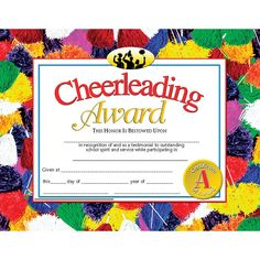Image result for free printable cheerleading award certificate cheerleading award 30pk 85 x 11 yelopaper Choice Image