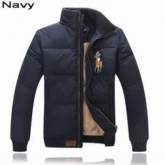 Polo Ralph Lauren Men Multicolor Big Pony Feather Down Jacket Navy