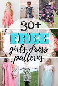 Giant list of easy and free girls dress patterns for infants to teens. Girls Shirt Pattern, Little Girl Dress Patterns, Tunic Dress Patterns, Simple Dress Pattern, Summer Dress Patterns, Sewing Patterns For Kids, Little Girl Dresses, Girls Dresses, Children's Dress Patterns