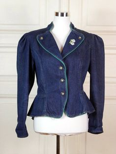 Bavarian Vintage Trachten Jacket, Denim Blue Jeans Jacket w Embroidered Flowers, 1990s Denim Jacket, Retro Jeans Blazer: Size 10 US, 14 UK by YouLookAmazing on Etsy