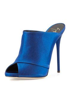Giuseppe Zanotti mule slide in iridescent electric-blue satin moire……One of Ken Downings (NM director) top fall picks…..and mine too…
