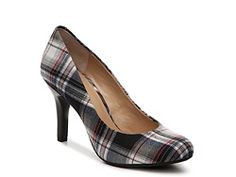 Love the mix of red, grey and black! Kelly & Katie Isabel Plaid Pump