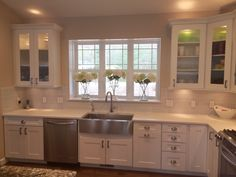 White shaker style kitchen cabinets with Hickory Hardware Studio pulls - Modern Shaker Style Kitchen Cabinets, Kitchen Cabinets And Countertops, Shaker Style Kitchens, Kitchen Cabinet Styles, Kitchen Cabinets In Bathroom, Garden Lounge Chairs, Kitchen Table Makeover, Kitchen Wall Colors, Hickory Hardware