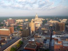 Springfield, Illinois from the 30th floor of the Hilton, the tallest place in the city, home of Abraham Lincoln and now one of the 5 most dangerous cities in the USA.
