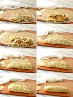 yuba wraps (bean curd sheet rolls) – a traditional Chinese vegetarian dish/ tofu skin, cabbage, carrots Vegetarian Chicken, Vegetarian Dish, Vegan Dishes, Vegetarian Recipes, Asian Cooking, Cooking Tips, Cooking Recipes, Tofu Recipes, Asian Recipes