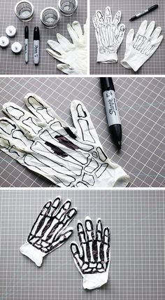 DIY: SPOOKY SKELETON HANDS When it comes to Halloween, I definitely prefer haunted—spooky music, cobwebs and ghouls—to gore. And these super easy DIY decorations are just the right amount of haunting. Dulceros Halloween, Halloween Projects, Holidays Halloween, Halloween Decorations, Halloween Costumes, Halloween Makeup, Festa Hotel Transylvania, Manualidades Halloween, Halloween Disfraces