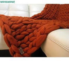 Giant Knitted Merino Wool Throw. Super Chunky Blanket. Big Yarn. Grande Punto. FASHION TREND. 19 microns merino wool by woolWow! Rust color by woolwow. Explore more products on http://woolwow.etsy.com