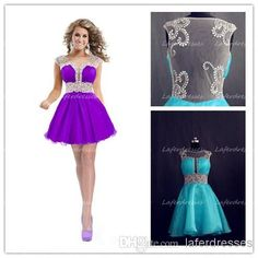 Cheap 2014 Short Prom Dresses - Discount 2014 Vogue Short Prom Dresses with Sheer Neckline See through Back a Line Mini Purple Organza Party Dress Sexy Uk Prom Dress with Beads 0228 Online with $105.55/Piece   DHgate