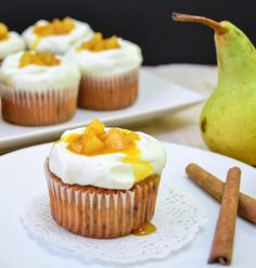 pear and marzipan cupcakes
