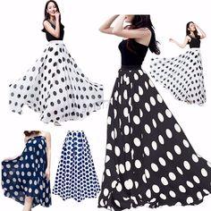 Women Chiffon Polka Dot Print Summer Skirt Boho High Waist Beach Long Maxi Dress #Fashion #Maxi