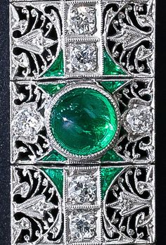 Antique emerald and diamond bracelet, circa 1910-1920