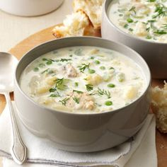Spring Salmon Chowder Recipe -You can't help but fill up on this creamy salmon chowder. Veggies make it a whole meal in a bowl. —Pat Waymire, Yellow Springs, Ohio