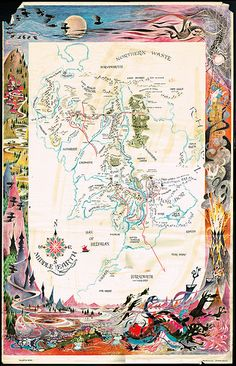 Ballantine Books - Lord of the Rings Middle Earth poster - $3.00 original price - 1969/1978