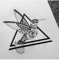 Bird and rose tattoo sketch