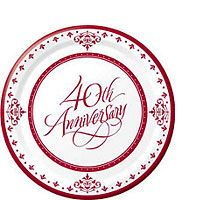 Ruby wedding anniversary party supplies offer themed tableware with wedding anniversary decorations, invitations, balloons and party favors. 40th Anniversary Decorations, Anniversary Dessert, Ruby Wedding Anniversary, Anniversary Parties, Anniversary Ideas, Discount Party Supplies, Dessert Plates, Dinner Plates, Paper Plates