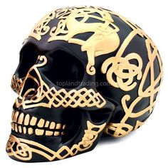 """Black Celtic Skull with Gold Celtic Design. Gothic Home Decor Large Black Satin Skull Statue with Gold. Nearly life sized skull with intricately painted Celtic knotwork design. Ships for free in the USA. Size: Length: x Height x Width"""" Inexpensive Home Decor, Unique Home Decor, Cheap Home Decor, Decorating Tips, Decorating Your Home, Interior Decorating, Interior Design, Interior Ideas, Gothic Home Decor"""