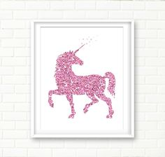 Unicorn Illustration, Printable Wall Art, Glitter, Girl Nursery Wall Decor, Pink Nursery, Unicorn Art Print, Sparkly, DIGITAL DOWNLOAD by PeachAndGold on Etsy https://www.etsy.com/listing/229426045/unicorn-illustration-printable-wall-art