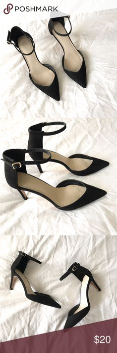 Zara Black Heels pointy black heels with ankle strap in black suede. in great condition. Zara Shoes Heels