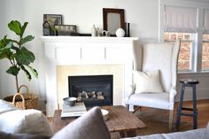 fireplace surround: Brian Paquette Interiors