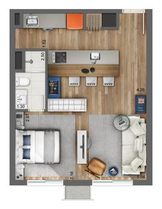 Smart - Artsy - Plantas de casas - The price reach of the Apartment wa Studio Apartment Floor Plans, Studio Apartment Layout, Apartment Plans, Apartment Design, Studio Apt, Layouts Casa, House Layouts, Small House Plans, House Floor Plans
