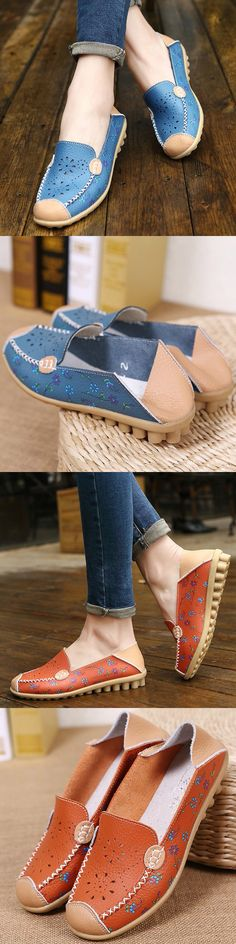 US$16.07 Floral Print Color Slip On _Hollow Out Breathable Flat Shoe _Casual Slip On Flats