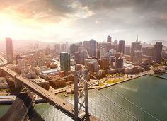 Aerial view of the city and the San Francisco-Oakland Bay Bridge