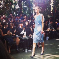 Gorgeous evening look in powder blue at Dior SS14 #pfw #fashionweek