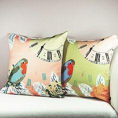 Vintage Style Clock With Bird Cushion