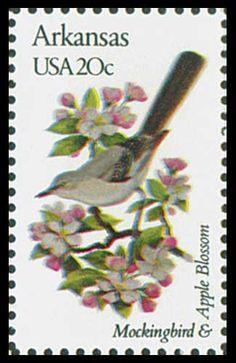 1982 Arkansas State Stamp - State Bird Mockingbird - State Flower Apple Blossom
