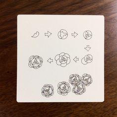 小さなバラのような模様の描き方をご紹介します。鉛筆で軽く円を描いて、ガイドにすると描きやすいですよ。これは、パターンというよりもイラストに近いので、ZIAに合うと思います。↑大きな花に添えています。↑この2枚も、同じような使い方をしていますね。↑左上に白いバラみたいな模様がありますが、これも書き方は同じです。花びらの端をガタガタさせたり、枚数を増やしたりしています。