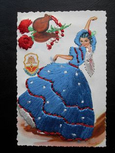 Silk embroidered Spanish Flamenco Dancer from Gibraltar novelty postcard Gumier in Collectables, Postcards, Novelty | eBay