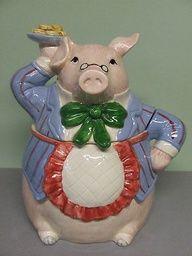 Vintage Fitz & Floyd Pig in Apron Serving Plate of Cookies Cookie Jar