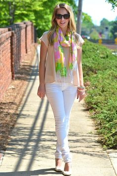 white jeans & Lilly scarf