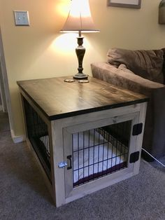 DIY Dog crate end table: break down an old wire crate with bolt cutters, build a. - DIY Dog crate end table: break down an old wire crate with bolt cutters, build a frame around it, m - Dog Crate End Table, Diy Dog Crate, Dog Kennel End Table, Wood Dog Crate, Wood Dog Bed, Dog Crate Cover, Puppy Crate, Crate Bed, Wire Crate