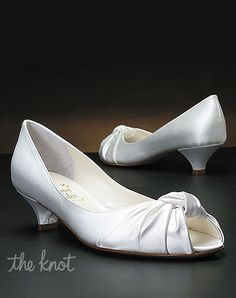"Low Heel Wedding Shoes by My Glass Slipper |  Style:  Bloom by Something Bleu  ~~  DETAILS:  Dyeable white silk satin 1 1/2"" heel pump with knot detail at toe."