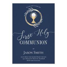First Communion classic blue and faux gold Invitation   Zazzle.com