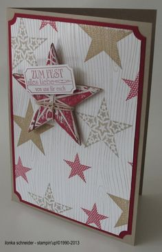 "Set 'Simply Stars' 1  Woodgrain   Christmas Star   Set 'ticket for you'   Stamp pad chili and Savannah, color box chili, Savannah and Whisper  Punch ticket Duo and 1/2 ""circle, Snail Adhesive and Stampin 'Dimensionals"
