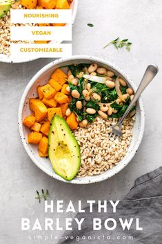 Roasted Butternut Squash, Beans & Barley Bowl is a perfect example of simplicity and elegance. Easy make, it's a healthy grain bowl full of fiber and protein. Vegan recipe! #veganrecipes #healthyrecipes #barley #grainbowl Low Fat Vegan Recipes, Vegan Dinner Recipes, Bean Recipes, Side Dish Recipes, Whole Food Recipes, Vegetarian Recipes, Healthy Recipes, Vegan Meals, High Fiber Dinner