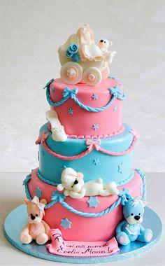 Un tort de botez vesel colorat si pentru care am realizat o trupa intreaga de ursuleti in nuante de roz si bleu, gata pregatiti sa indulceasca toti invitatii petrecerii.  Culorile si detaliile pot fi personalizate in functie de preferintele tale. Baby Showers, Birthday Cake, Desserts, Tailgate Desserts, Birthday Cakes, Baby Sprinkle, Dessert, Baby Shower, Deserts